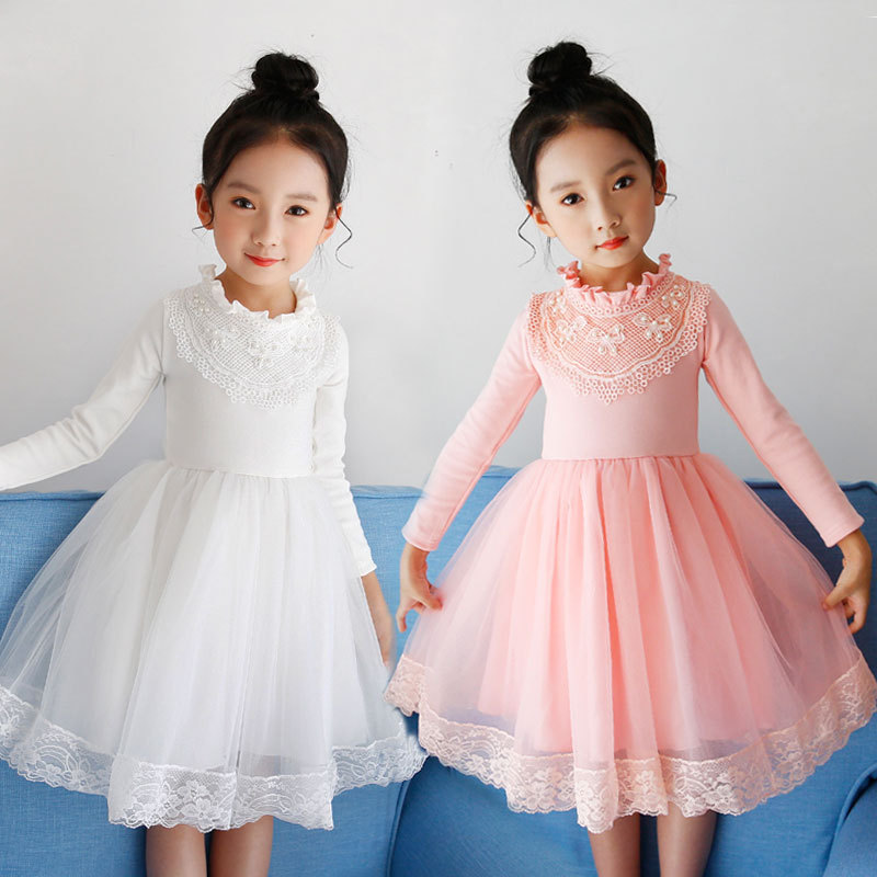 Pink White Baby Girls Party Dresses Long Sleeve Dress Autumn Winter Long Sleeve Dress For Kids Girls For 4-9Y uoipae party dress girls 2018 autumn