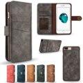 Magnético destacável tampa traseira carteira luxury leather flip case para iphone 6 6 s mais sacos de telefone titular do cartão para o iphone 7/7 plus