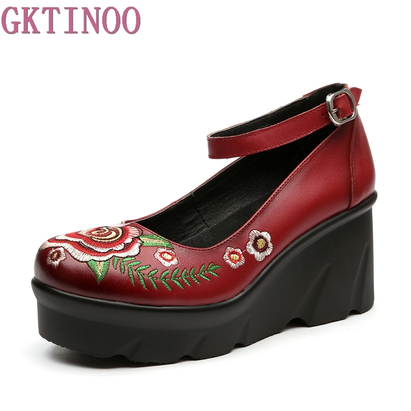 New Women Genuine Leather Platform Wedges Shoes Ladies Shallow Mouth Buckle Strap High Heels Wedge Shoes Fashion Mother Shoes woman fashion high heels sandals women genuine leather buckle summer shoes brand new wedges casual platform sandal gold silver