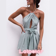 Sexy Halter Neck Playsuit Ruffles Short Jumpsuit Women Elegant Backless Rompers 2018 Boho Beach Top Back Cross