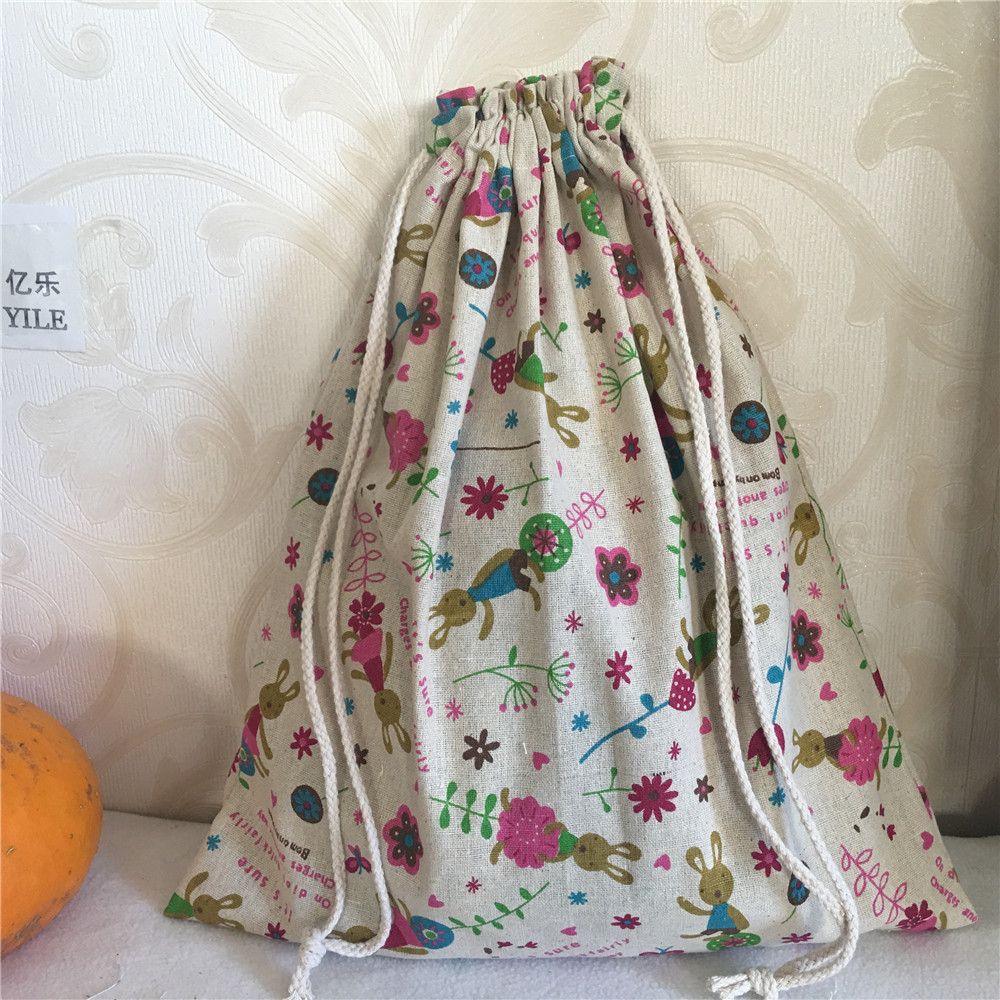 YILE Cotton Linen Drawstring Multi-purpose Home Organizer Bag Shoes Bag Bunny Flower 8201e