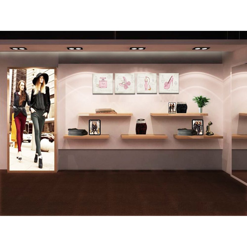 Wall Decor Stores Unique Design Canvas Wall Art Fashion Dress High Heels Perfume