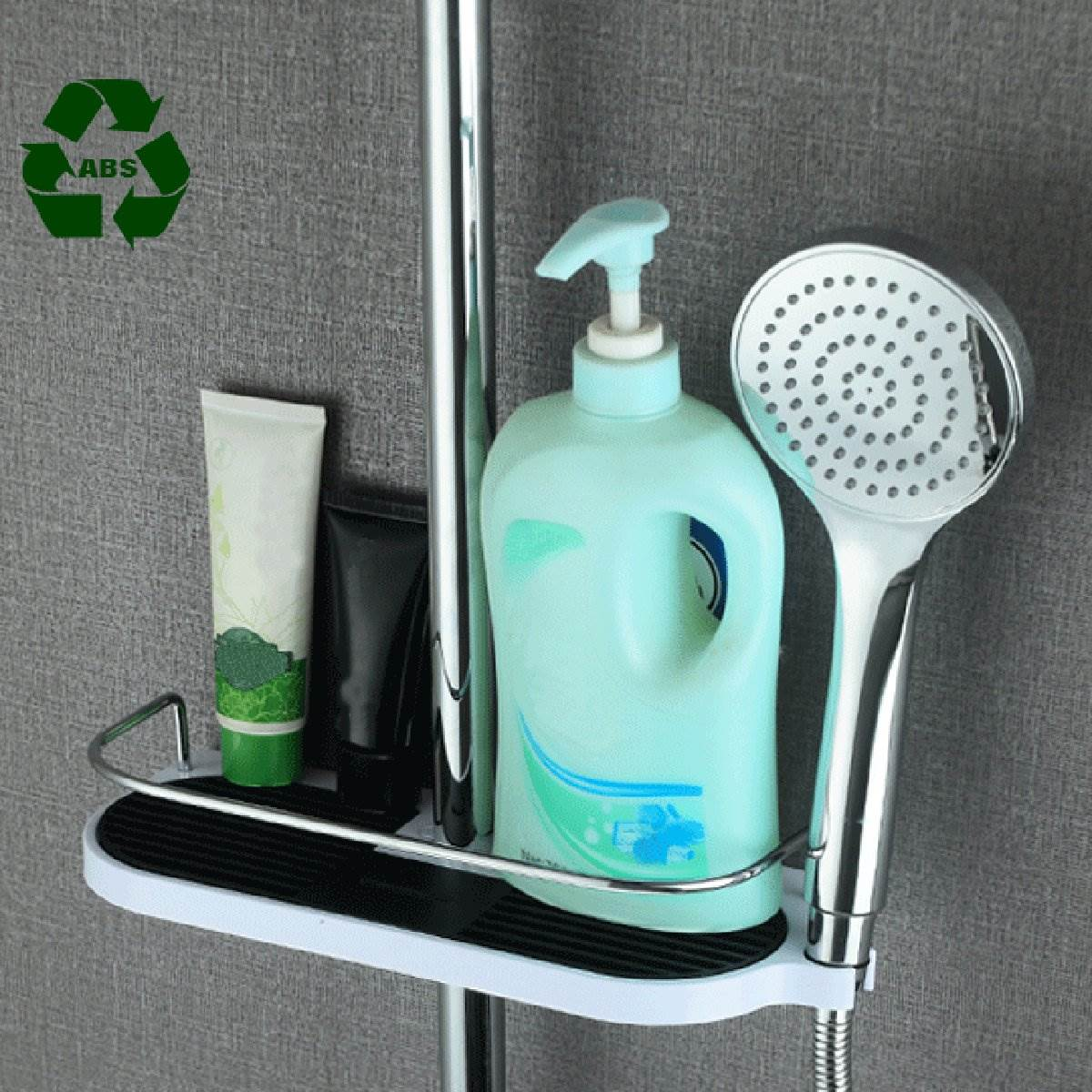 Wall Hanging Bathroom Pole Shelf Shower Storage Rack Shampoo Bath ...