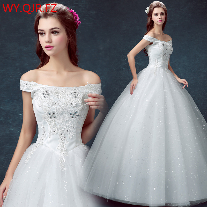 Wedding Gown Wholesalers: DM118#Bride's Wedding Dress Resin Drill White Ball Gown