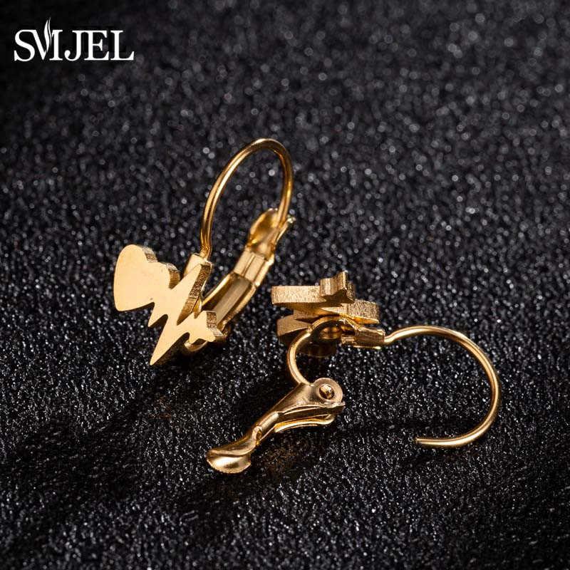 SMJEL เกาหลีแฟชั่นหัวใจสตั๊ดต่างหูสแตนเลสผู้หญิงเครื่องประดับต่างหูเจาะหูผีเสื้อ oorbellen