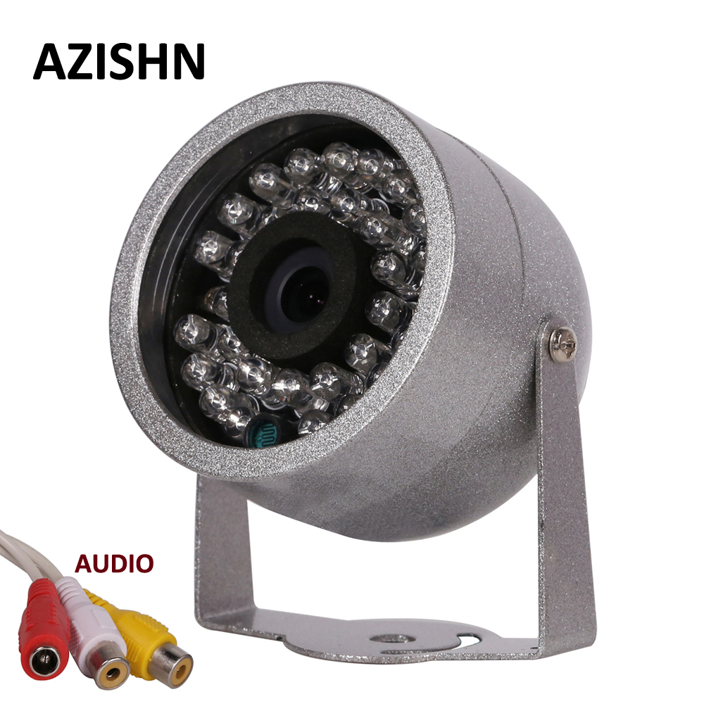 AZISHN CMOS 700TVL With Audio surveillance 30 LED night vision Security Outdoor Color metal shell Waterproof CCTV Camera 1 3 ccd waterproof surveillance security camera with 42 led night vision white dc 12v