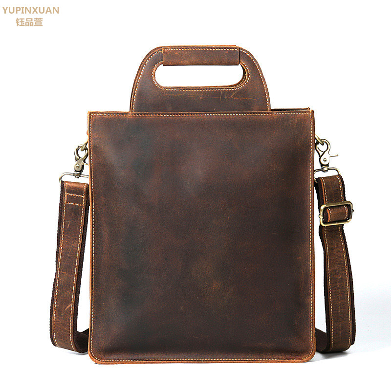 YUPINXUAN Luxury Genuine Leather Handbags Unisex Crazy Horse Leather Briefcases Businessmen Handbag Cowhide Documents Bags Chile цена