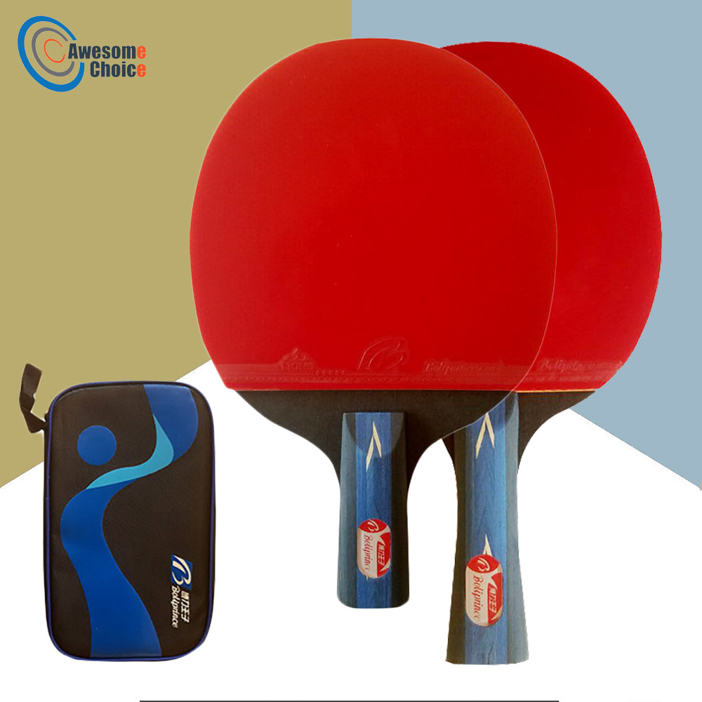1 Pcs Professional Carbon Fiber Table Tennis Racket Blade Rubber Double Face Pimples-in Ping Pong Rackets High-quality With Bag