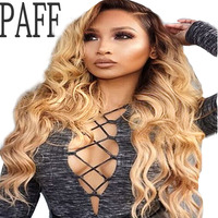 PAFF Two Tone Color Full Lace Human Hair Wig For Black Women 150% Density Body Wave Ombre Remy Brazilian Hair Wig With Baby Hair