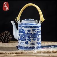 NUEVO Hecho A Mano de cerámica azul y blanco tetera de gran capacidad dragón Pórtico 1.5L