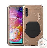 For Samsung A70 Phone Case Hard Aluminum Metal Tempered Glass Screen Protector Heavy Duty Cover For Samsung Galaxy A70 S10 Plus