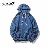 OSCN7 Solid Streetwear Loose Casual Hoodies Men 2018 Spring Striped Hip Hop Men Hoddies Harajuku Sudadera