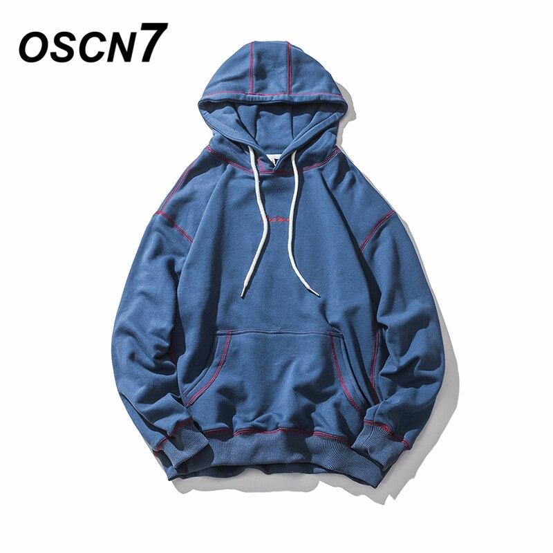 OSCN7 Solid Streetwear Loose Casual Hoodies Men 2018 Spring Striped Hip Hop Men Hoddies Harajuku Sudadera Hombre Hoody Men Usa