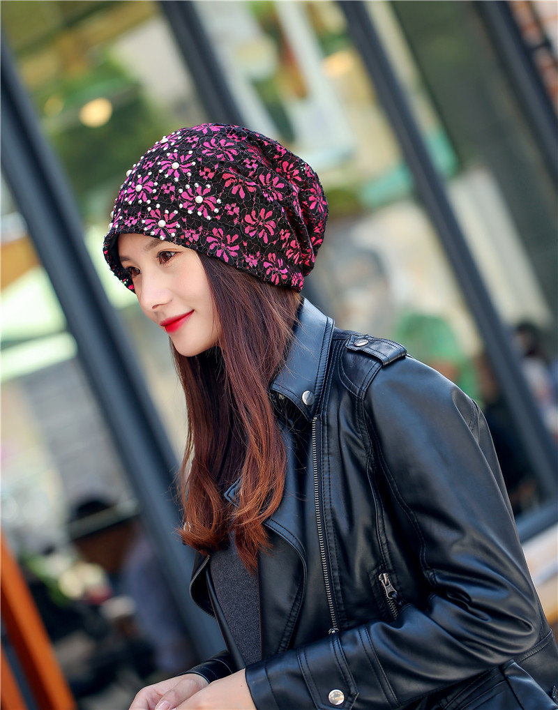 Fashion Women Pearl Lace Floral Beanie Skullies Hat Mesh Soft Double Layer Baggy Slouch Spring Autumn Girls Skullies Beanies Hat skullies