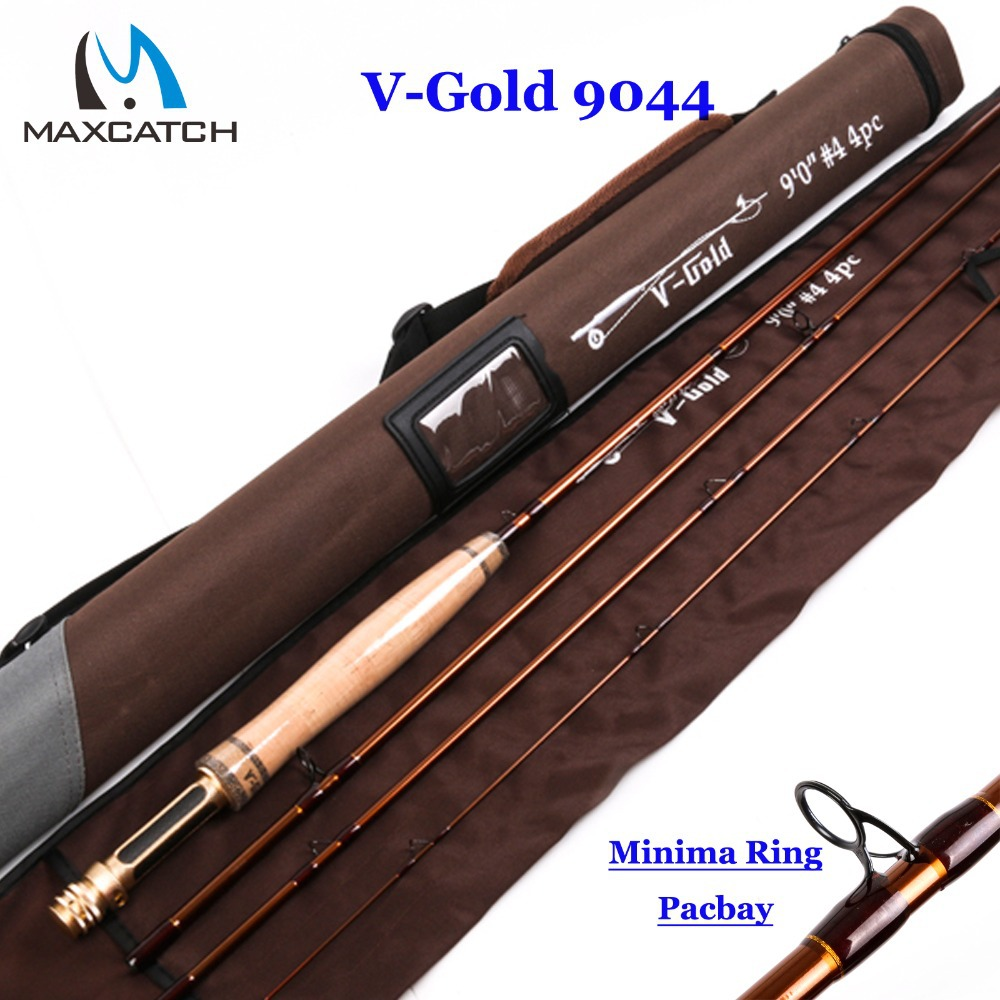 Maxcatch New V-Gold 9044 Fly Fishing Rod 40T SK Carbon Fiber 9FT #4 4Pcs Fly Rod With a Triangle Cordura Rod Tube