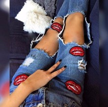 NuoJin Sexy Hole Ripped Boyfriend Women Jeans Cool Denim Pants Red Lip Print Skinny Vintage Pencil Pant Slim Trousers Female