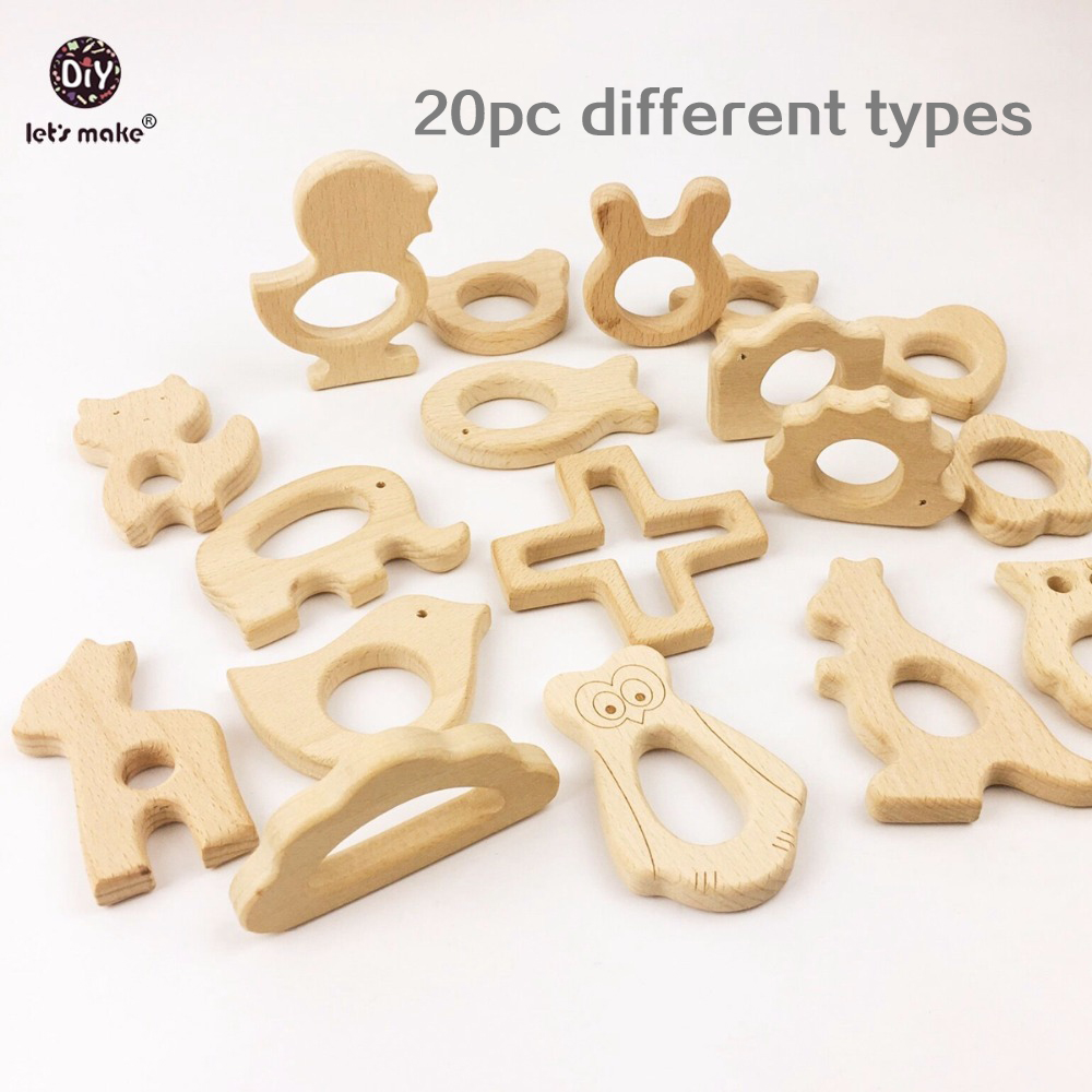 Let s Make Wooden Teether 20pc Nature Baby Teething Toy Organic Wood Teething Holder Nursing Wood