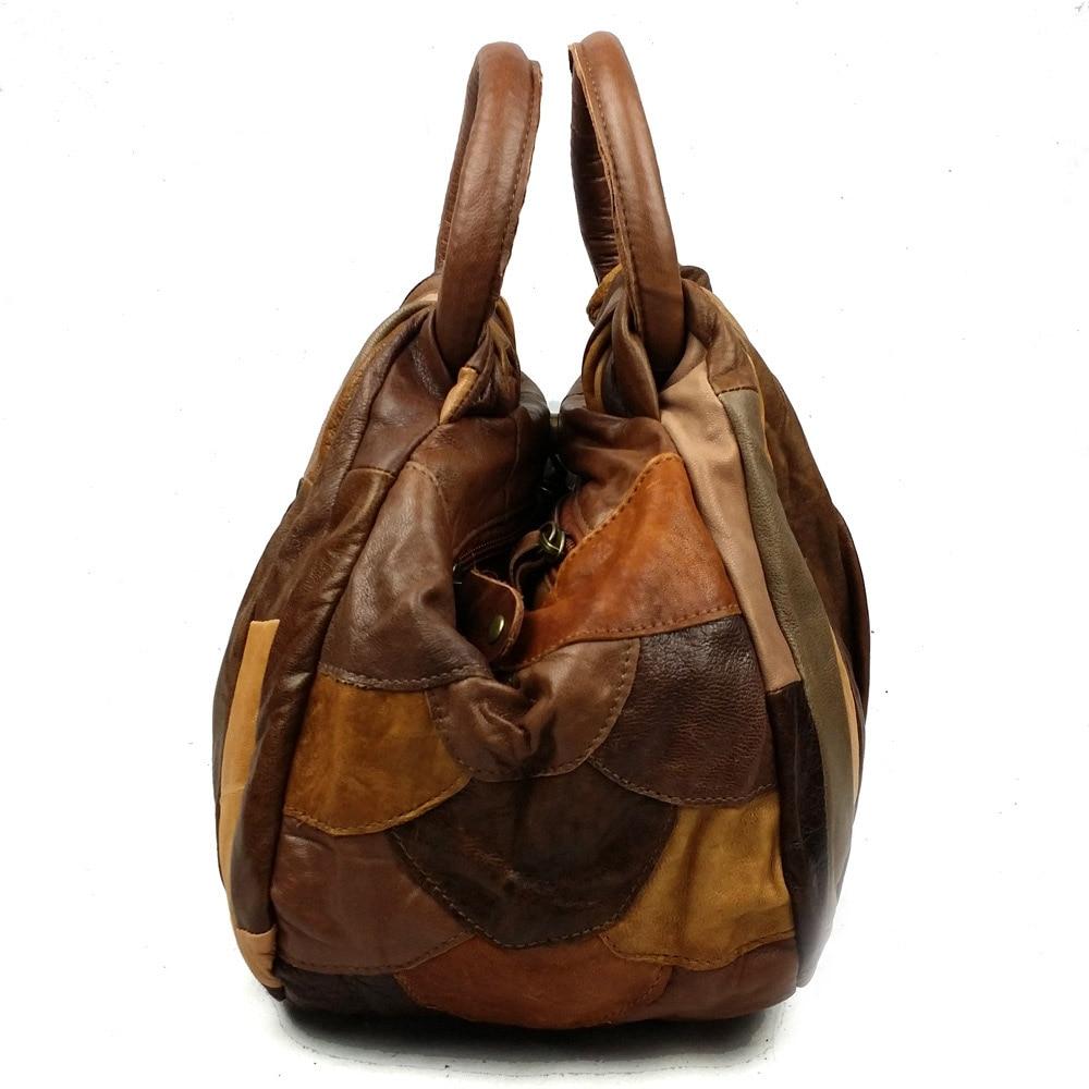 NIUBOA Women Genuine Leather Handbags Mini Skin Bolsas High Quality Lady Hobos Natural Cowhide Casual Shopping Shoulder Bags-in Shoulder Bags from Luggage & Bags    2