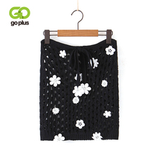 GOPLUS 2019 Women Knitted Mini Skirt Autumn Winter High Waist Hollow Out Skirts Female Sexy Floral Appliques Black Party Bottoms