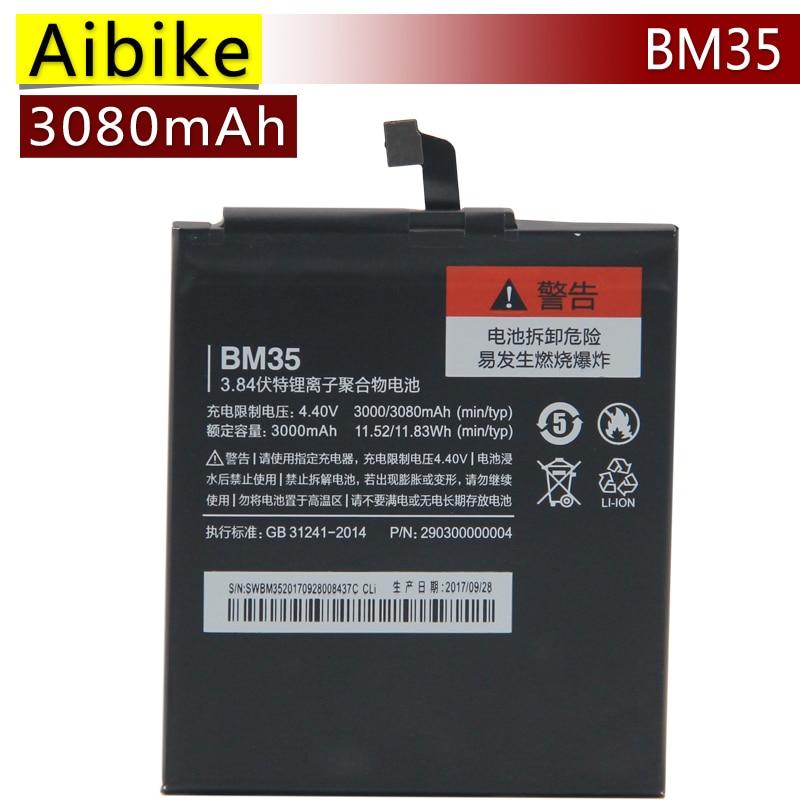 Aibike New original mobile phone battery BM35 For Xiaomi 4C Mi4C Mi 4C Replacement Batteries 3080mAh rechargeable Battery