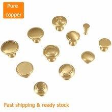 2pcs Gold pure copper handle wardrobe cupboard brass door drawer modern minimalist Nordic cabinet hardware single hole