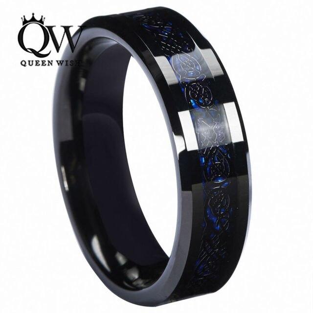 Queenwish 6 мм Синий Черный Серебрение Celtic Дракон Из Карбида Вольфрама Кольцо Обручальное Годовщина Полоса Ювелирные Изделия