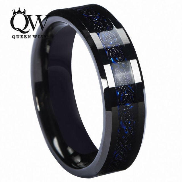 Queenwish 6mm Blue Black Silvering Celtic Dragon Tungsten Carbide Ring Wedding Anniversary Band Jewelry