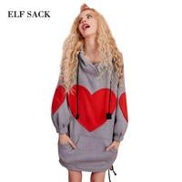 Loose Ins Harajuku Hooded Women Sweatshirts Winter Thick Heart Appliques Long Swaetshirts Womens Pullovers