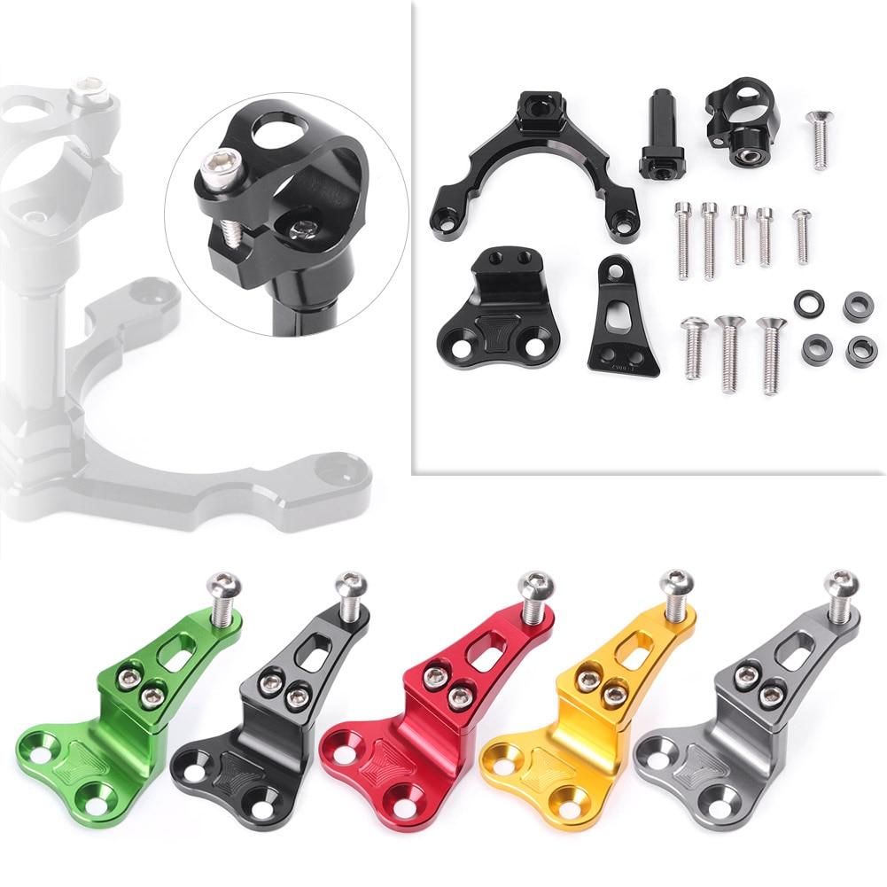 все цены на CNC Steering Damper Stabilizer Bracket Mounting Holder Set For Kawasaki Z900 2017 2018 Motorbike Spare Parts Accessory Aluminum онлайн