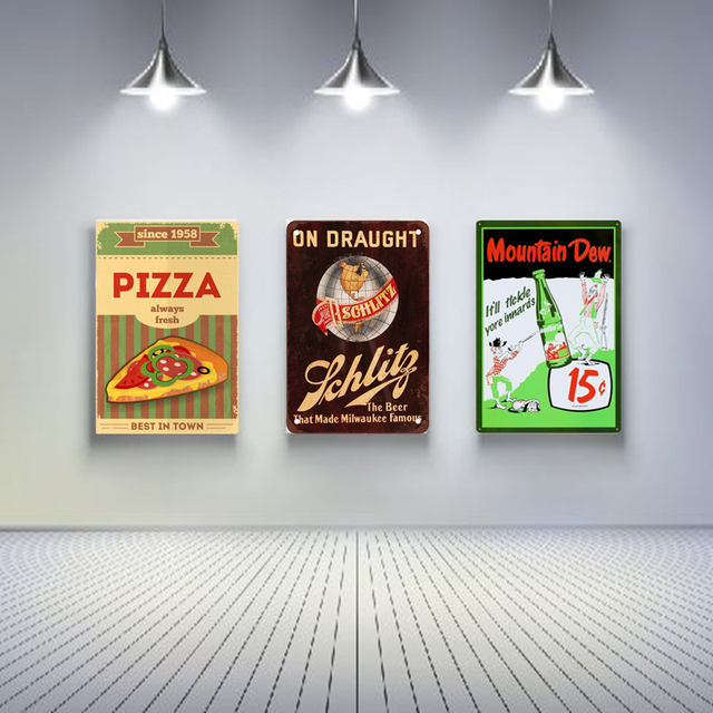Muur Decoratie Platen.Pizza En Drink Vintage Tin Borden Retro Metalen Plaat Schilderen