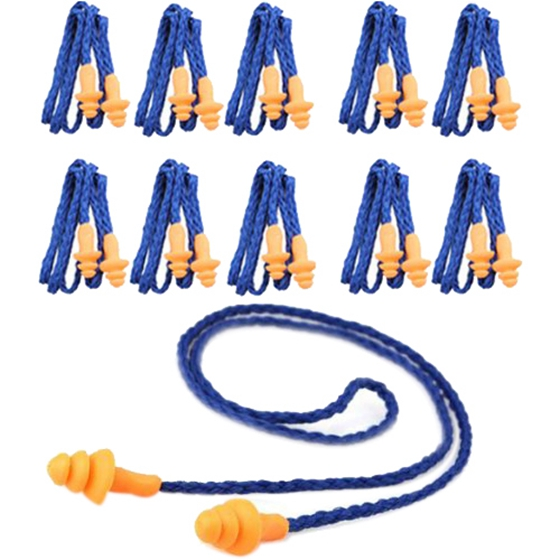 10 Pcs Safety Silicone Soft Ear Plugs - Hearing Protection Muffs With Cord - Noise Reduction for Work Home Sleeping Blue Orange