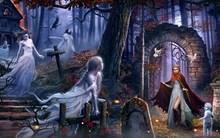 house girls ghosts child graveyard cloak arch fire birds forest dark horror 4 Sizes Home Decoration Canvas Poster Print