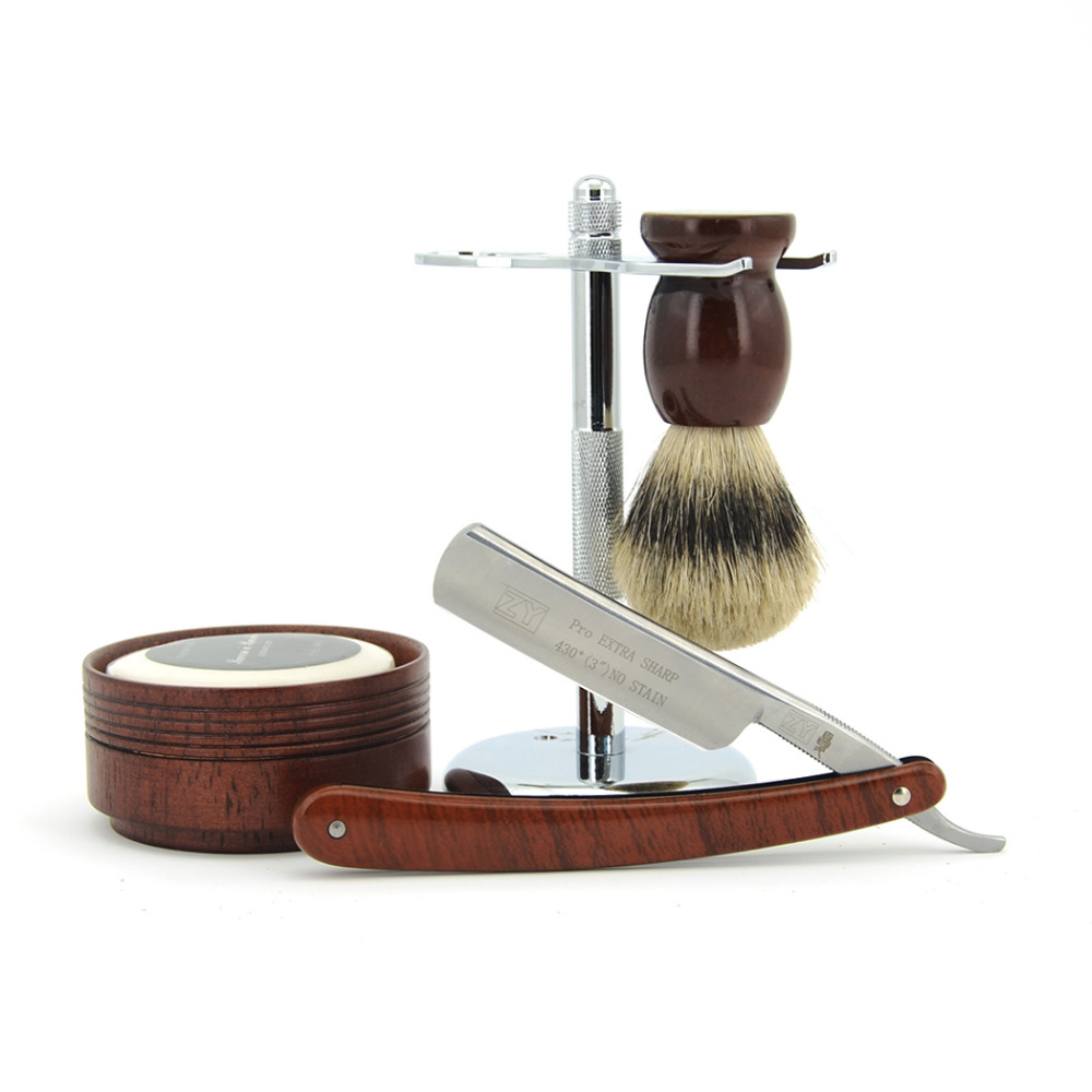 ZY Shave Ready Men Straight Shaving Razor Cut Throat Knife +Badger Hair Beard Brush+Razor Holder Stand+Wooden Bowl+Soap Set Kit gold dollar 208 straight razor cut throat shaving knife leather belt sharpening razor strop sharpener for men shave beard