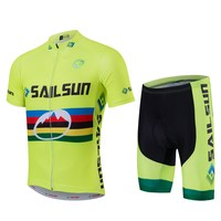 VOILE SOLEIL Vélo Vélo Vêtements Vélo Jersey Définit Manches Courtes Avec Bib Vélo Printemps/Automne En Plein Air de Sport Jaune CC6130