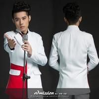 الأبيض الأحمر السترة سترة الرجال الدعاوى المنصوص الزفاف تظهر ملهى ليلي الملابس أداء المغني اللباس سترة outdoors ضئيلة ارتداء