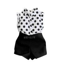 Excellent Toddler Girl Clothing Cotton Polka Dot T Shirt Tops Pink Bowknot Pants Shorts Clothing Set