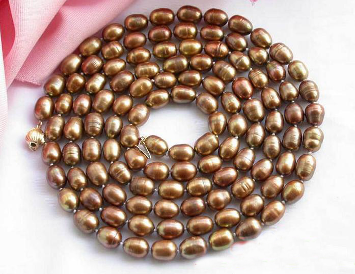 Charming Pearl Necklace,Handwork 50'' 5-9mm Rice Chocolate Freshwater Pearl Necklace,Perfect Women Chirstmas Gift Jewellery все цены