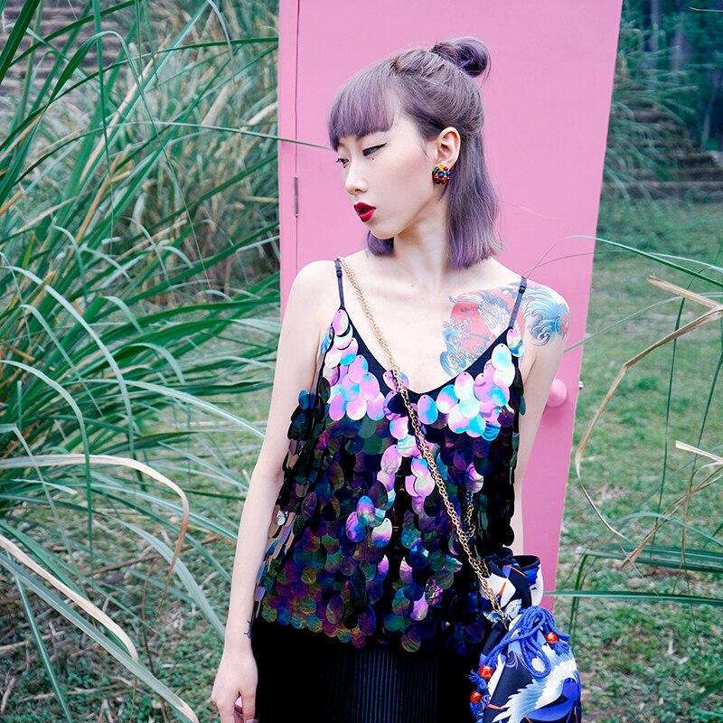 BT027 Original Design 2016 sexy summer top hand made bling bling sequin camisole women