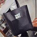 Мода нового прибытия женщины плеча сумки 2016 Корея композитный ИСКУССТВЕННАЯ кожа женщины сумочку cat мультфильм печати fun сумка, LB2576