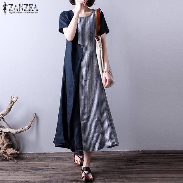 Oversized Women Linen Dress 2018 ZANZEA Fashion Patchwork Striped Summer  Dress Short Sleeve Casual Long Vestido Robe Sundress-in Dresses from Women s  ... 892b2a954