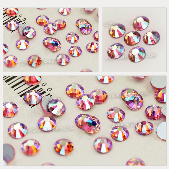 Pink AB SS3-SS30 Nails Rhinestones nails Non hot fix crystal strass glitters accessoires for DIY nail art decor manicure designs 3