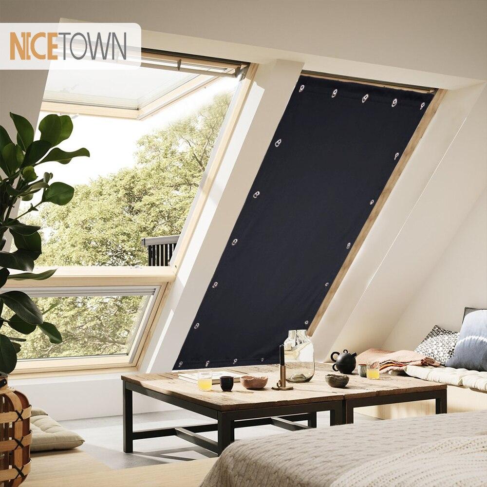 Cortina de Blackout ajustable portátil de 1 Pc, cortina ciega, cortina con ventosas para la ventana del techo de la cocina del dormitorio 129 cm por 198 cm-in Cortinas from Hogar y Mascotas    1
