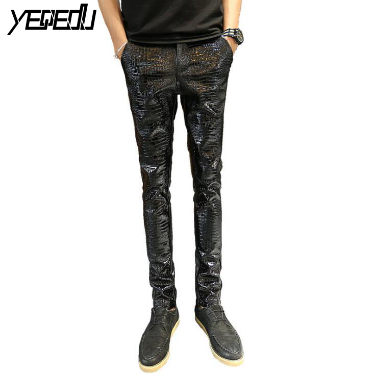 #2218 2018 Black leather pants men Fashion Thick Winter Men joggers Hip hop pants Men leather pants Joggers Pantalon homme