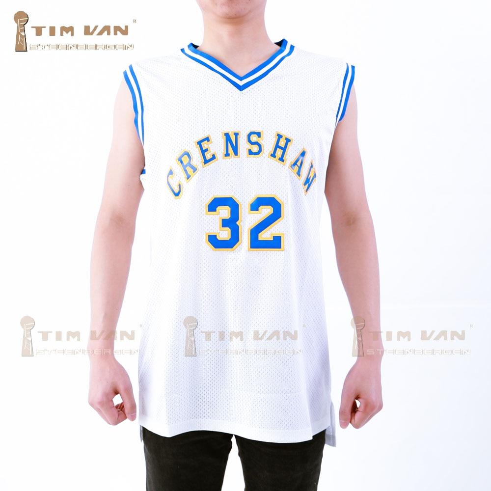 Prix pour TIM VAN STEENBERGE CRENSHAW Wright 32 Basket-Ball Jersey Piqué Cousu-Blanc