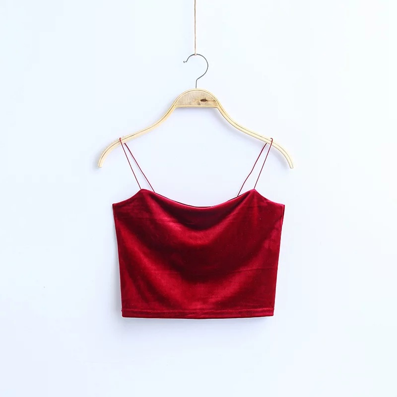HTB110 BnYsTMeJjSsziq6AdwXXaG - Fashion Sexy Spaghetti Straps Tank Top Velvet Short Crop Top 7 Colors Sexy Boob Tube Top Bustier Brief Vest T-shirts Tee