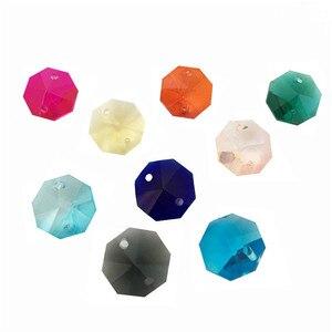 Image 2 - 12000 יח\חבילה, מעורב צבע 14mm חרוזים מתומן ב 2 חורים עבור גביש נברשת פריזמה חרוזים משלוח חינם