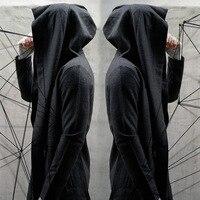 Черный Тренч с капюшоном мужская Весенняя мода Повседневная Длинная ветровка панк Рок Тренч Плюс Размер Мужская 2018 пальто