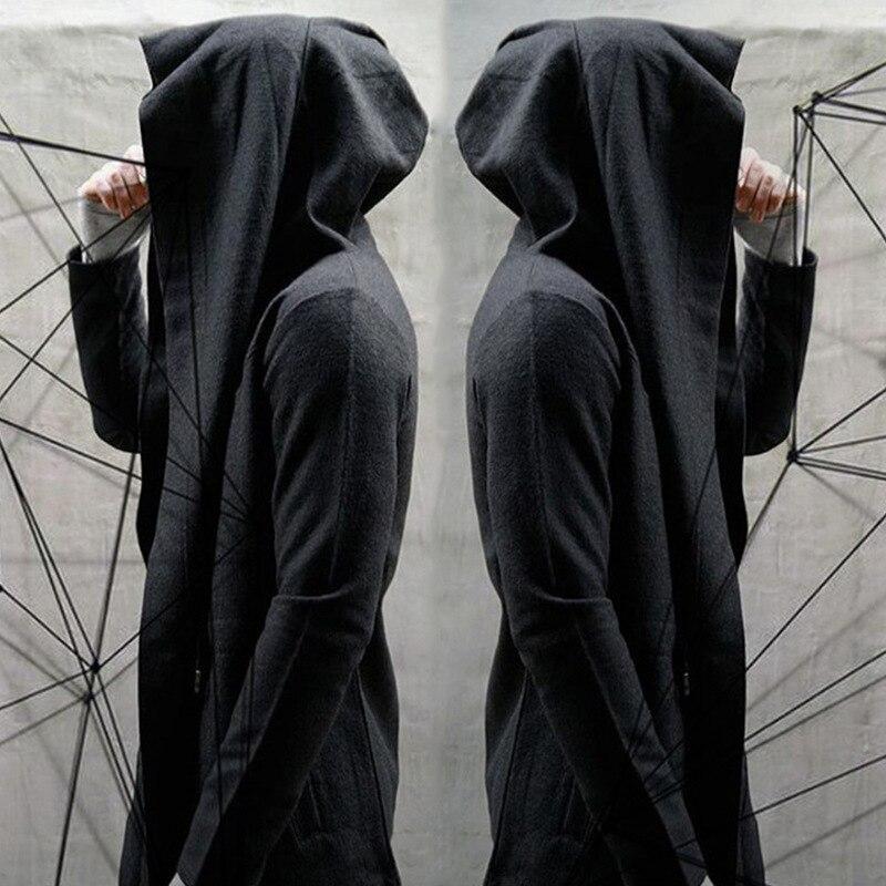 Black Hooded   Trench   Coat Men Spring Fashion Casual Long Windbreaker Punk Rock   Trench   Coat Plus Size Men 2018 Overcoat