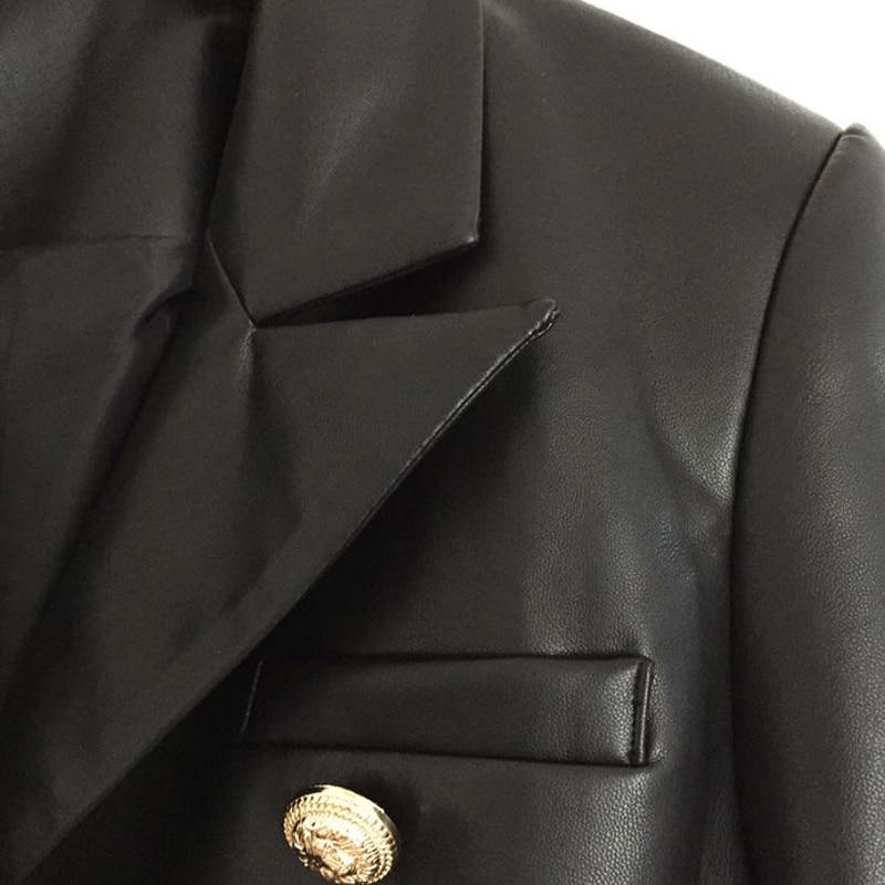 2017 Boutons Nouveau Slim Métal Femme Hiver Blazer En Double Coupe Jc1747 3xl Survêtement Femmes S Mode Pu Cuir Boutonnage Automne gPPrwqd