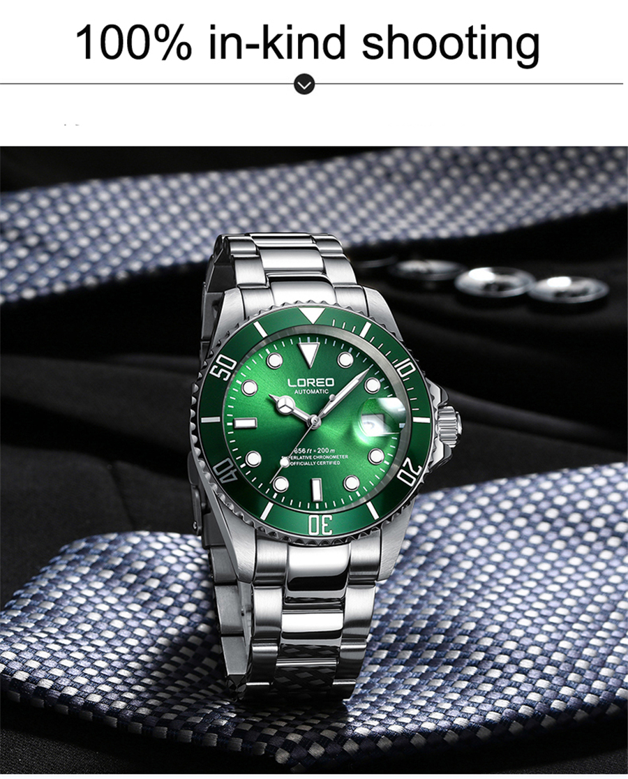 Image 3 - LOREO 200m Diving Automatic Watch Luminous Men Mechanical Men Watches Fashion Brand Relogio Masculino Waterproof Stainless Steel-in Sports Watches from Watches